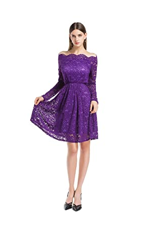 859f653ba2f MAGICMK Women s Vintage Floral Lace Long Sleeve Boat Neck Cocktail Formal  Swing Party Dress (S