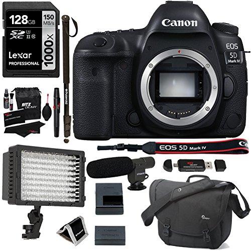 "Canon EOS 5D Mark IV DSLR Camera Body + Lexar 128GB 1000x SDXC U3 Card + Polaroid Pro Microphone + Polaroid Pro 160 LED Video Light + Pro 72"" Monopod + Lowepro SLR Bag Premium Accessory Bundle"