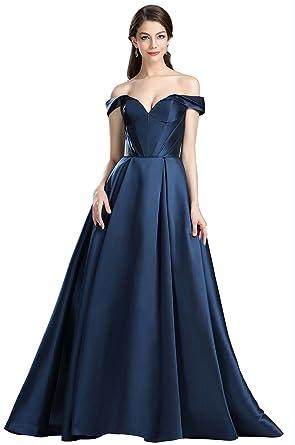 eDressit Dark Blue Off The Shoulder V Cut Puffy Prom Dress (36174205 ...