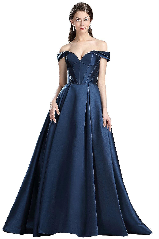 b4bc5d5afd eDressit Dark Blue Off The Shoulder V Cut Puffy Prom Dress  Amazon.co.uk   Clothing