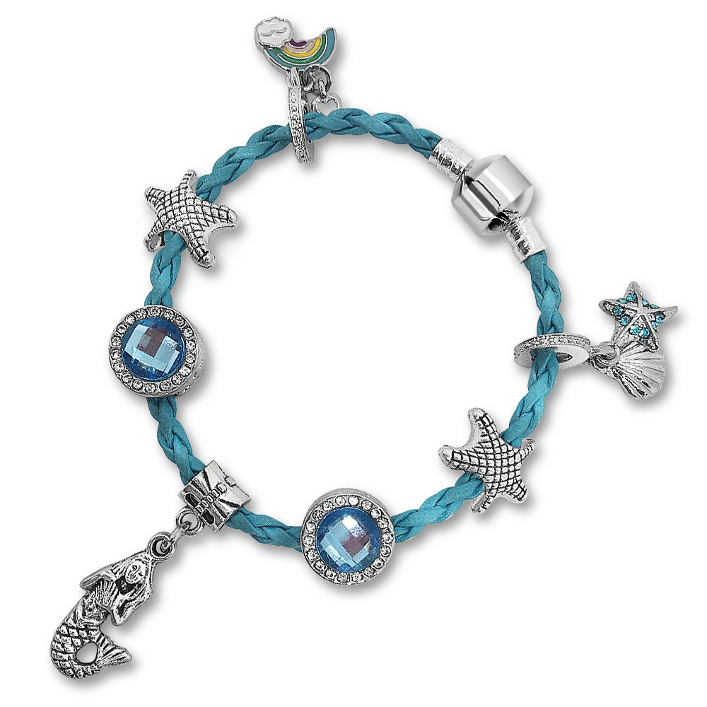 Blue Mermaid Charm Bracelet with Gift Box, Mermaid Jewelry Gifts for Girls Charmbow B07FVY9J1V_US
