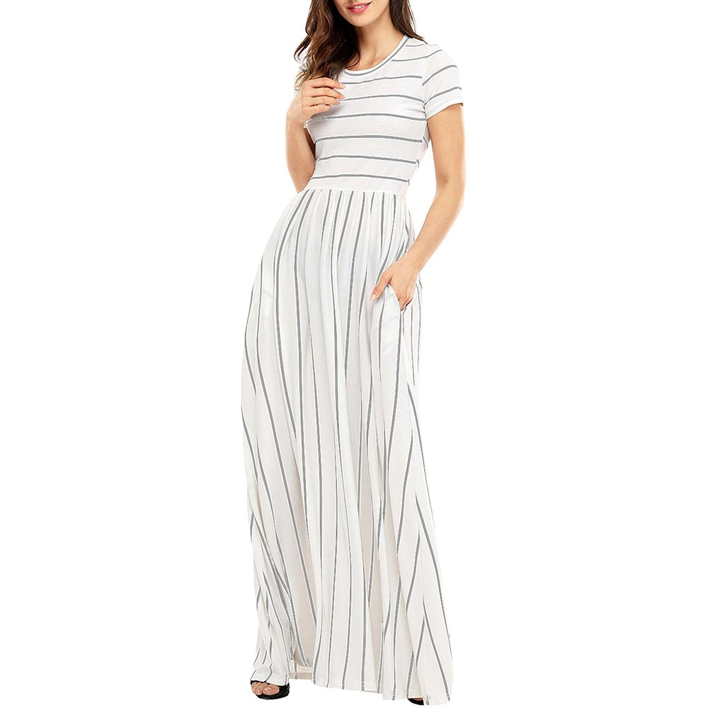 Lrud Women's Short Sleeve Crew Neck Striped Casual Loose Long Maxi Dress with Pockets White-Grey-S