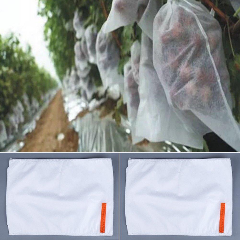 Bolsas protectoras para frutas, malla para el control de moscas, insectos y pájaros, blancas, para tus cultivos, 50 unidades, para el jardín 26*38cm ...