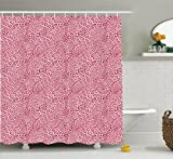 Pink Animal Print Shower Curtain Ambesonne Animal Print Collection, Animal Print Leopard Skin Pattern Girly Design Trendy Decorating Illustration , Polyester Fabric Bathroom Shower Curtain, 84 Inches Extra Long, Pink