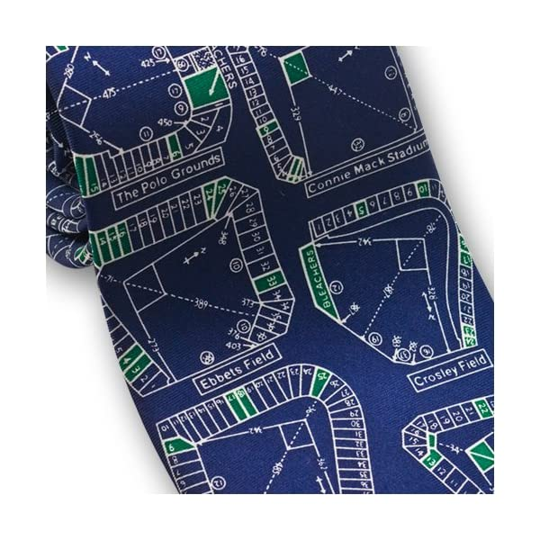Josh-Bach-Mens-Baseball-Stadiums-Silk-Necktie-Blue-Made-in-USA