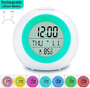 DAYOO Kids Alarm Clock, Newest Version with Rechargeable Lithium Battery, 7 color Changing Night Light, Snooze, Touch Control, Temperature for Children Bedroom, Digital Clock for kids girls boys gifts