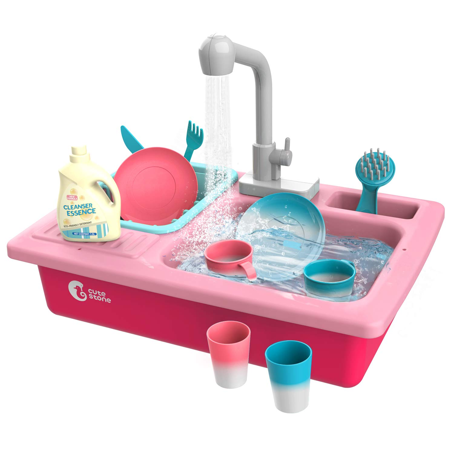 CUTE STONE Color Changing Play Kitchen Sink Toys, Children Electric Dishwasher Playing Toy with Running Water,Upgraded Real Faucet and Play Dishes,Pretend Play Kitchen Toys for Boys Girls Toddlers Kid by CUTE STONE