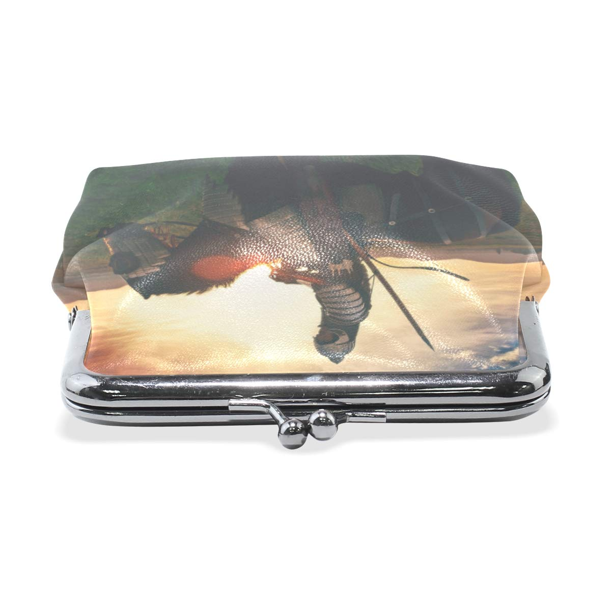 CLveg Coin Purse Card Package Coin Leather for Women Printing Series Knight