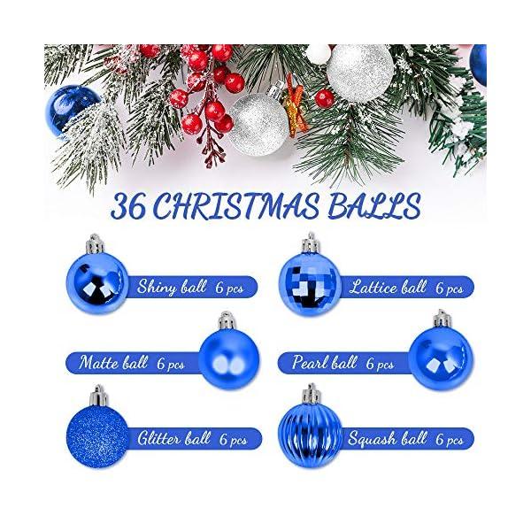 Speyang Palle di Natale 4cm, Palline Dell'Albero di Natale, Addobbi Natalizi Palline per Albero, Set Palla di Natale, Albero di Natale Palla Decorazioni con Albero Natale Scintillante—36 Pezzi (Blu) 2 spesavip