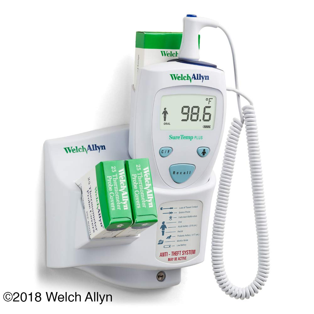 Welch Allyn 01690-300 SureTemp Plus 690 Electronic Thermometer, Wall Mount, 9' Cord and Oral Probe with Probe Well