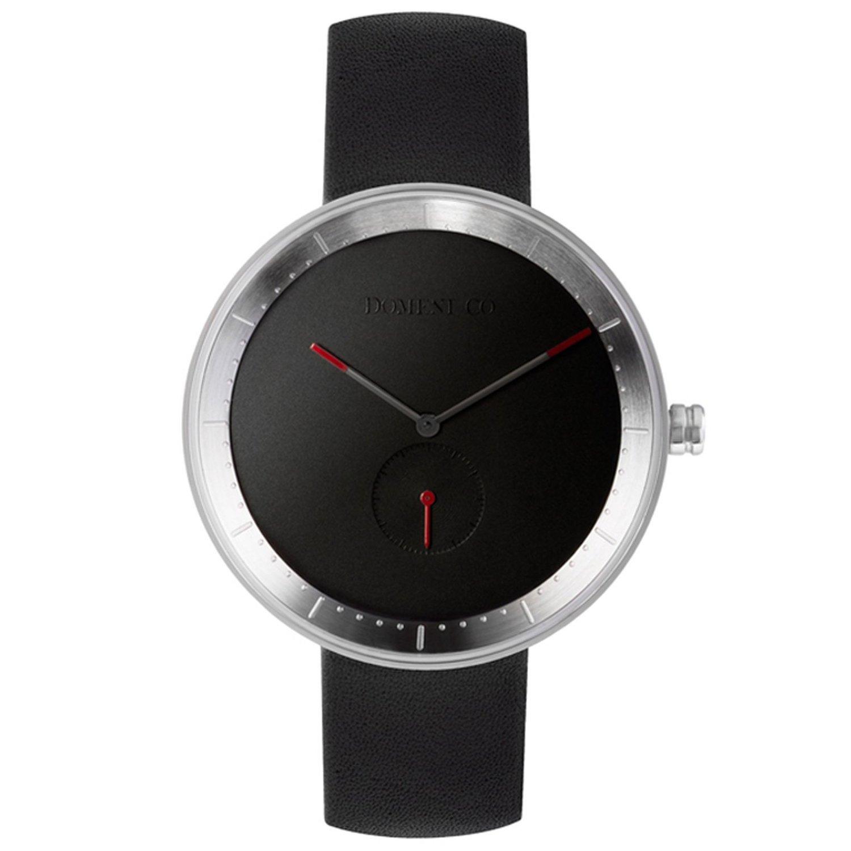 Domenico BLL01 Unisex Signature Serie Edelstahl Lederband schwarz Zifferblatt Uhr