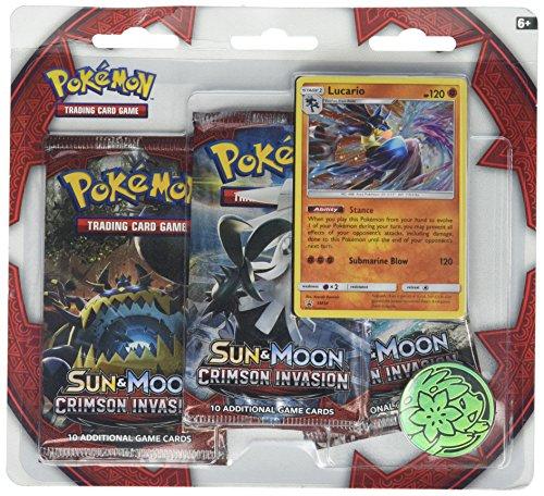 Pokemon TCG: Sun & Moon Crimson Invasion Lucario, Features Rare Holofoil Card | Value 3 Booster (Blister Booster Box)