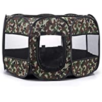 TWell 28.4 inch Indoor Outdoor Dog Cat Playpen/Portable Puppy Pet Exercise Pen/Soft Folding Crate Kennel Tent with Zipper (Camouflage)