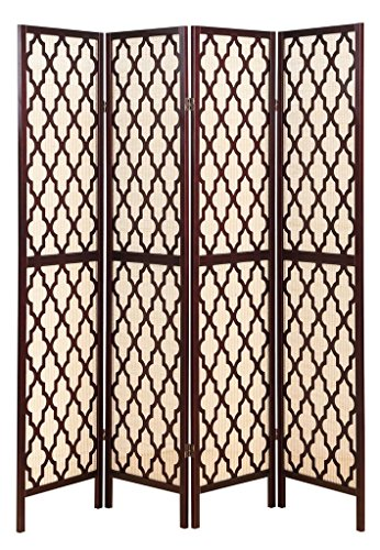 Legacy Decor 4 Panel Wooden Fabric in-Lay Screen Room Divider with Decorative Cut Outs, Espresso Color