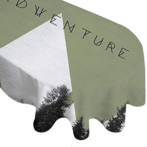 Rchangquxu Waterproof Tablecloth Adventure Forest with Halftone Effect Hipster Typography Camping in Mountains Army Green Black White 72 Inch x 108 Inch Oval Tablecloth (The New Batman Adventures Over The Edge)