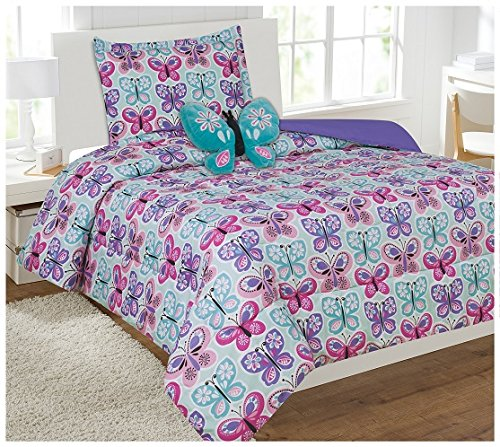 Fancy Linen Collection 6Pc Butterfly Purple Blue/Turquoise Comforter Set With Furry Buddy Included Twin Butterfly (Butterfly Comforter Sets)