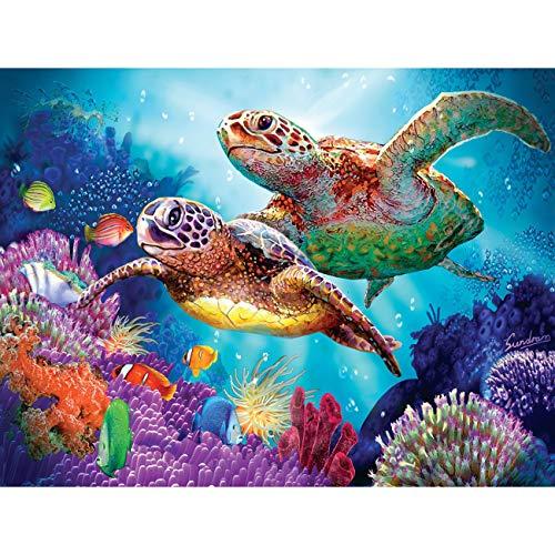 Leyzan 5D Diamond Painting Sea Turtle Full Drill Paint with Diamond Art, DIY Tortoise Painting by Number Kits Cross Stitch Embroidery Rhinestone Wall Home Decor 30x40cm (12