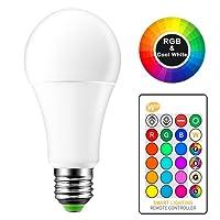 15 W RGB + luz de día Blanco E27 Bombilla cambio de color, LED, RGBW 16 colores cambiar con mando a distancia IR, CRI > 80, AC 85 - 265 V, Home habitaciones Diario iluminación KTV Etapa Club Party lámpara (Baterías no incluidas)