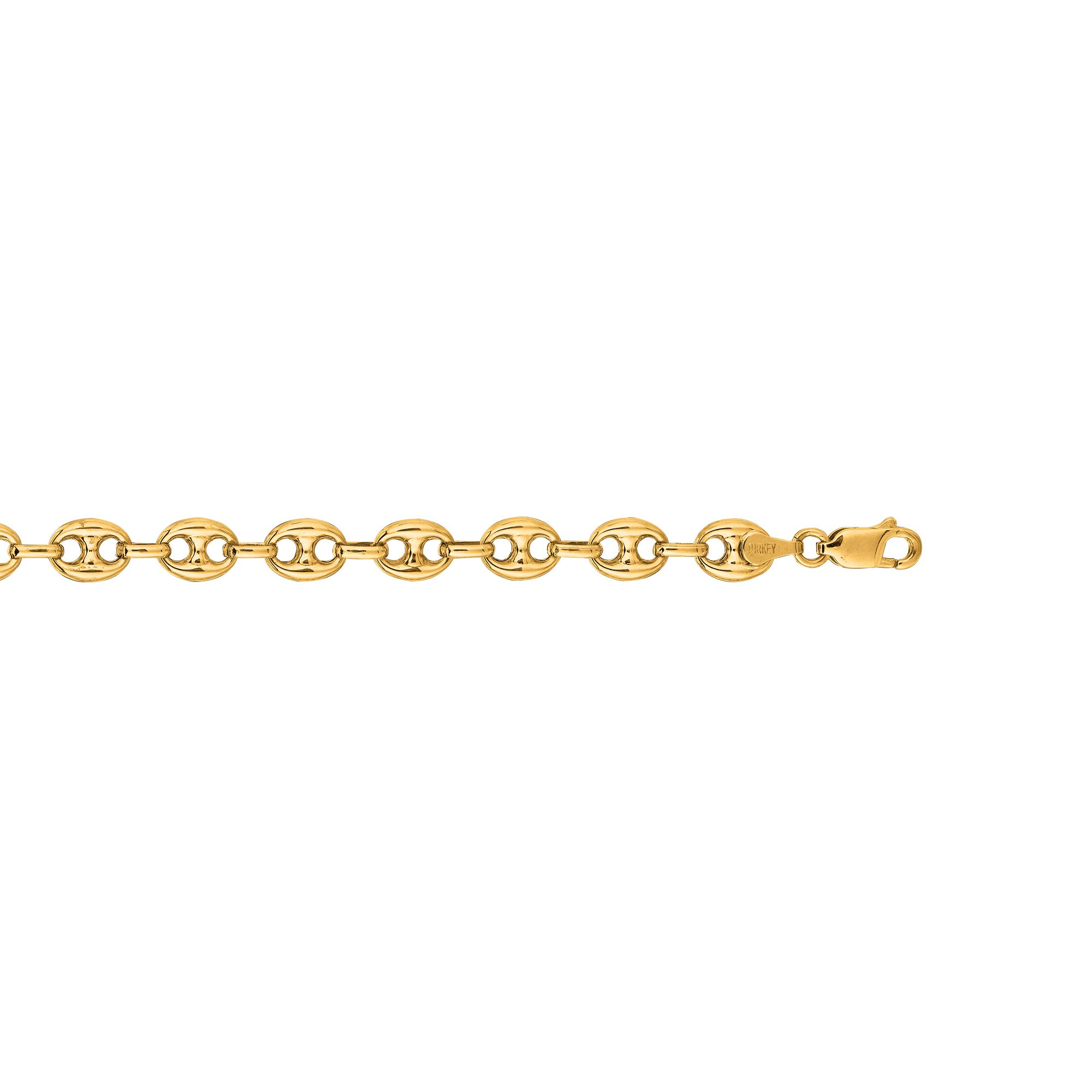 IcedTime 14K Yellow Gold 7mm Diamond Cut Puffed Mariner Link Chain 24'' Necklace Fancy Lobster Clasp