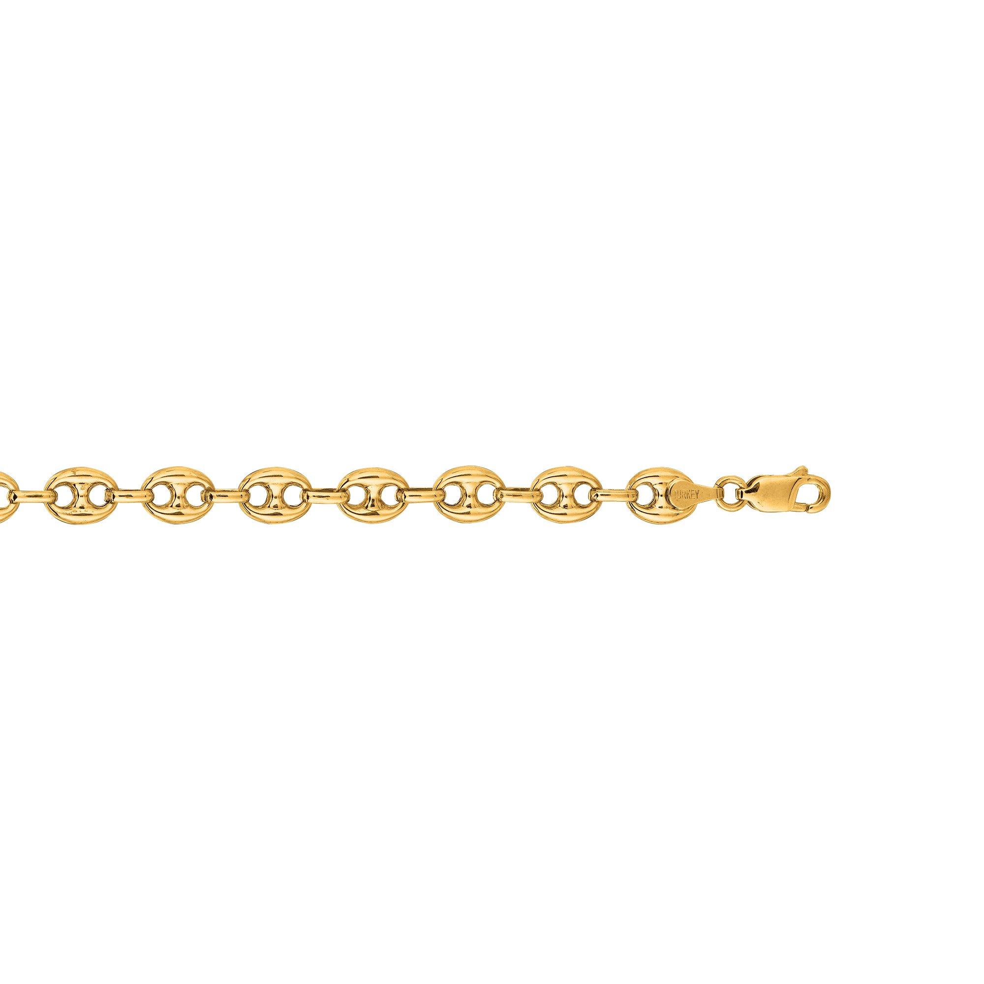 IcedTime 14K Yellow Gold 7mm Diamond Cut Puffed Mariner Link Chain 7'' Bracelet Fancy Lobster Clasp