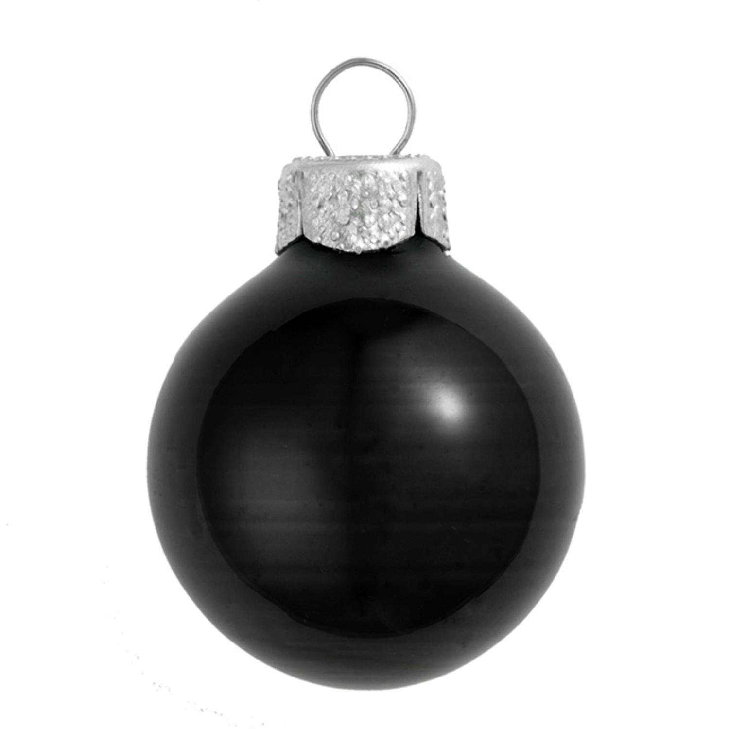 Black Christmas Ornaments.Amazon Com 12ct Shiny Black Glass Ball Christmas Ornaments