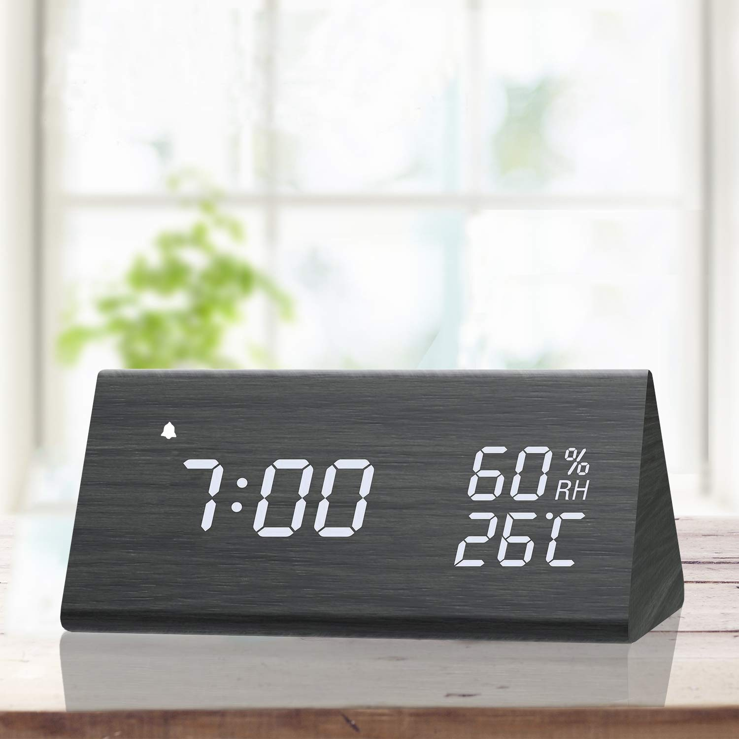 Digital Alarm Clock, with Wooden Electronic LED Time Display, 3 Alarm  Settings, Humidity & Temperature Detect, Wood Made Electric Clocks for  Bedroom, ...
