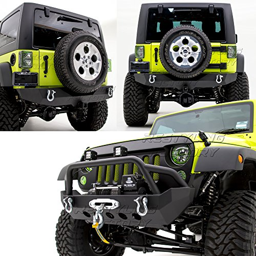 (Restyling Factory -Rock Crawler Front Bumper w/ Winch Plate+Rear Bumper with 2