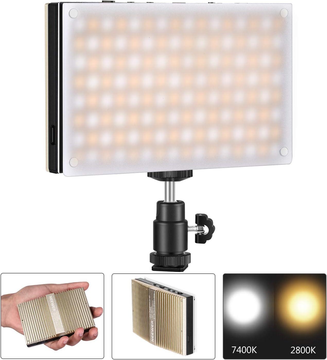 Neewer SL128-A Luz de Video LED de Bolsillo 128 LED SMD Bicolor Regulable 2800-7400K CRI95+ con Modo de Refuerzo y Batería Incorporada Carcasa Metálica con Superficie Curvada: Amazon.es: Electrónica