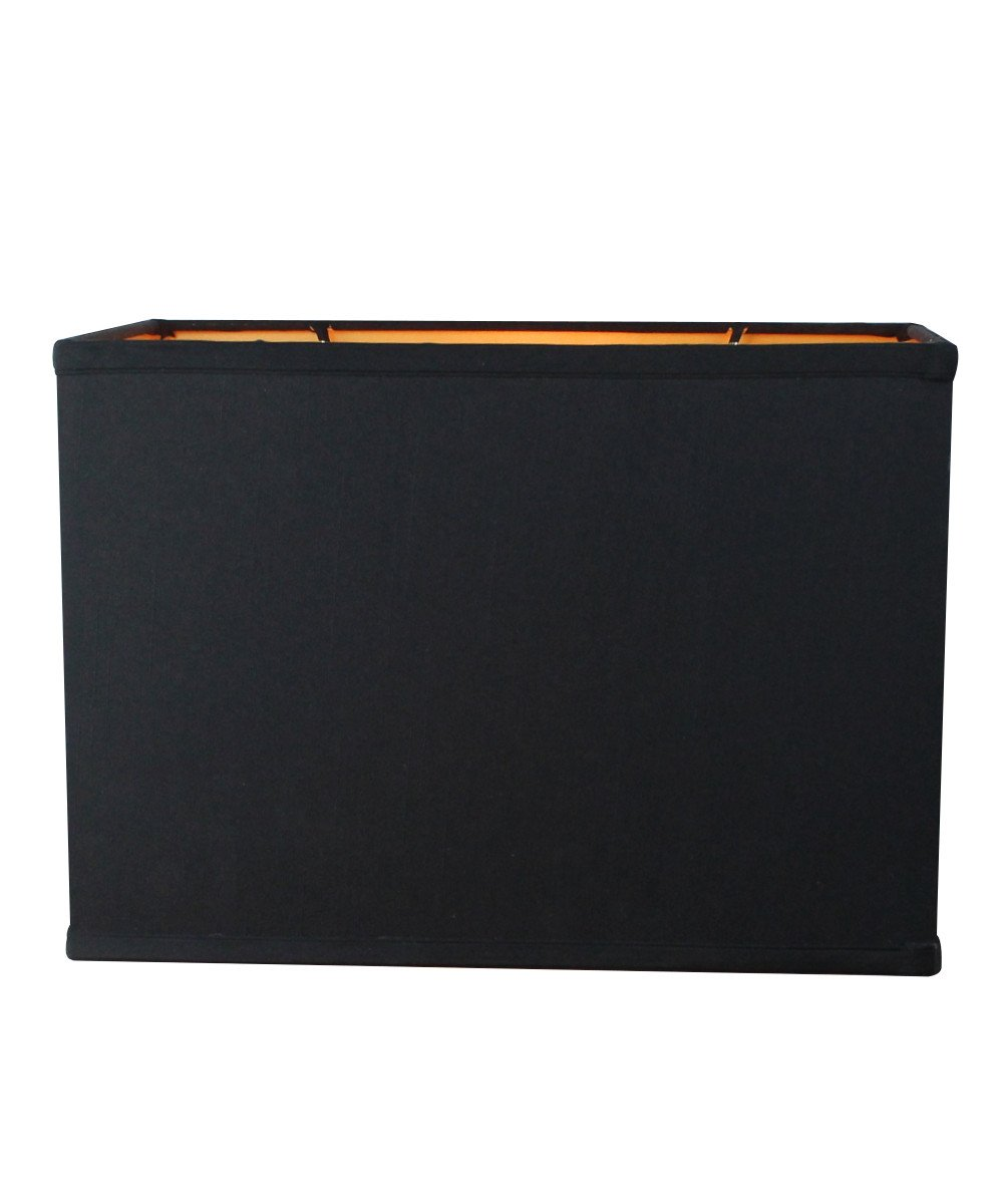 (16x10) x(16x10) x11 Rectangular Drum Lampshade Black Fabric with Brass Spider Fitter by Home Concept - Perfect for Table and Floor Lamps - Large, Black