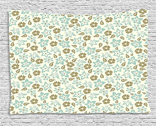 THndjsh Retro Tapestry, Spring Meadow Inspired Pattern with Tulips Daisies Pansies Bedding Plants, Wall Hanging for Bedroom Living Room Dorm, 80WX60L Inches, Cream Khaki Turquoise (Raining Daisies)