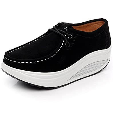 b0961b34f1efc Shenn Women s Comfortable Platform Athletic Suede Leather Fashion Sneakers  SN1061(Black