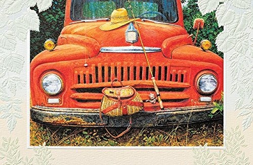 Retirement Congratulations Greeting Card Fishing Stories Old Truck (1) Single Card w/Env Pumpernickel Press Made in -