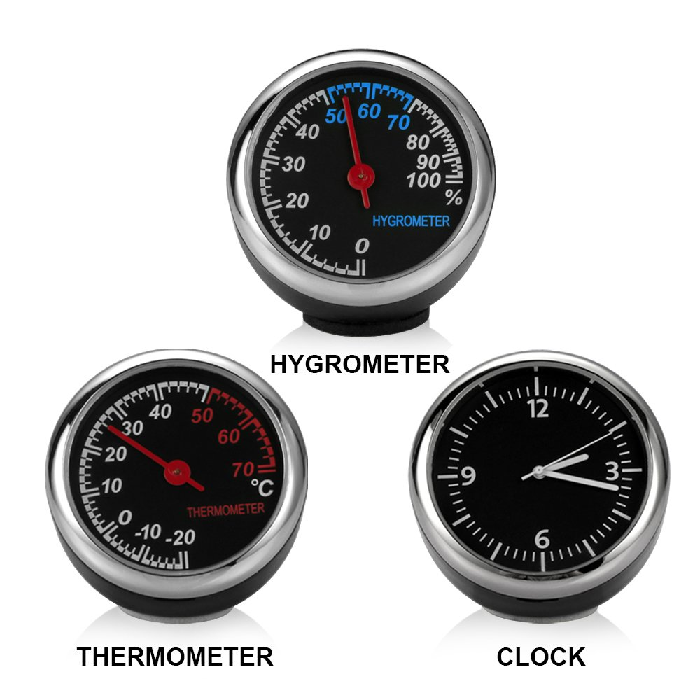 Walmeck Mini Auto Digital Quarz Uhr//Hygrometer// Thermometer Dekoration Hohe Pr/äzision Automotive Elektronische Autozubeh/ör