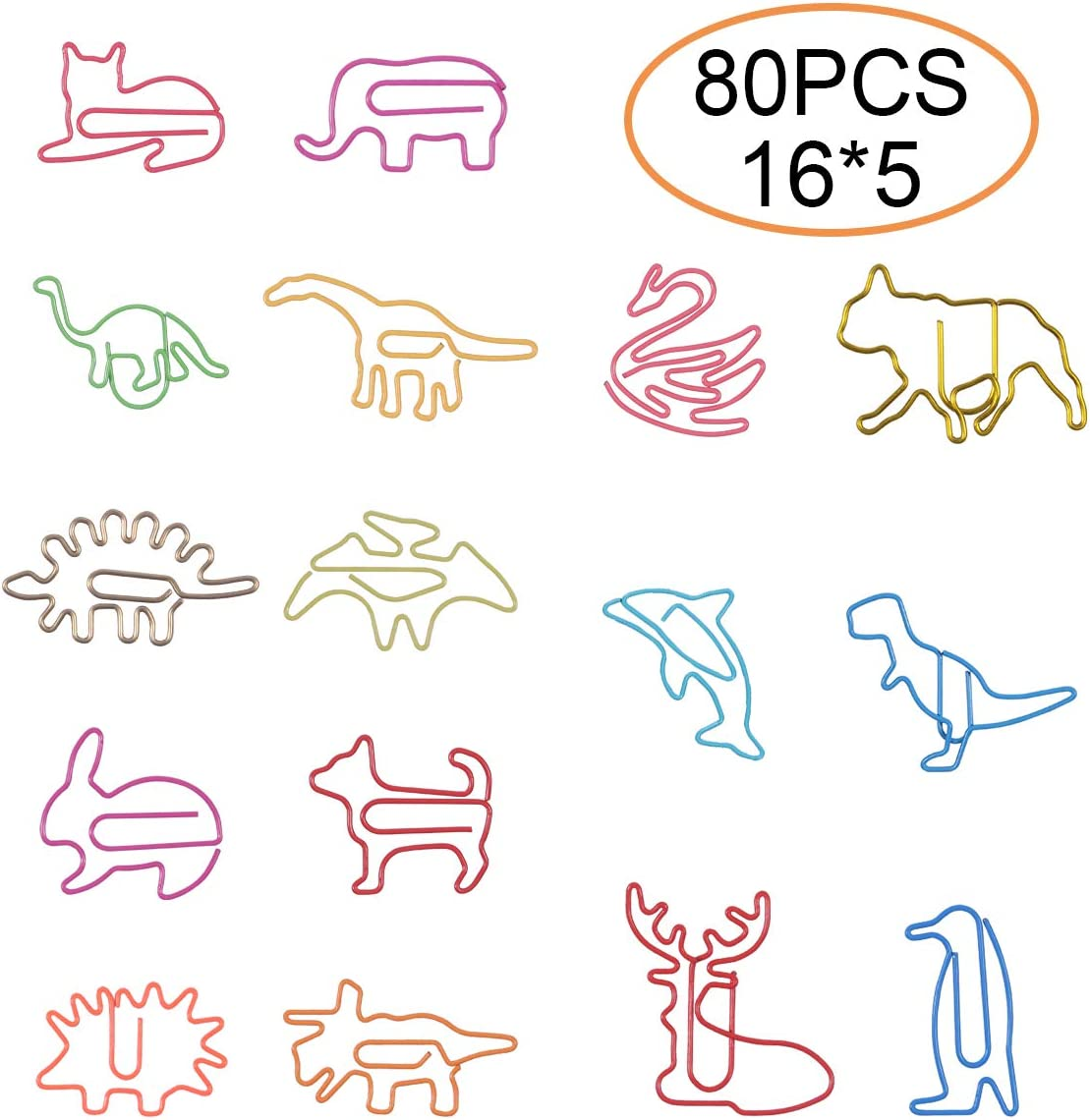 Paper Clips for Kids Animal Shaped Paperclip Fun Paper Clips Assorted Colors Paperclip Coated Paper Clips Bookmark Clips Office Supplies for Document Organizing 80 Counts Cute Paper Clips for Students