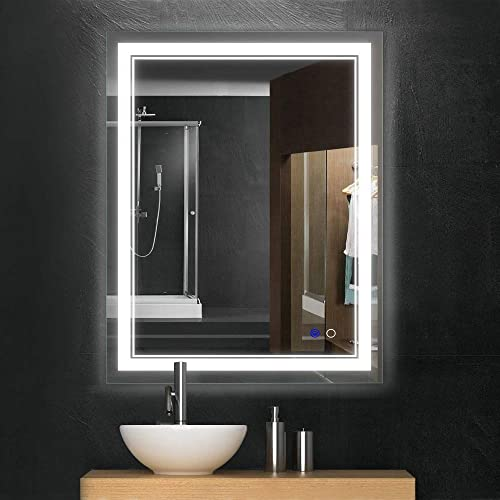 Keonjinn 36 x 28 Bathroom Mirror Horizontal Vertical Anti-Fog Wall Mounted Makeup Mirror with LED Light Over Vanity