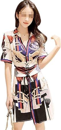 Vestido, Camisa de Cintura con Estampado de nicho, 4 tamaños (Size : XL): Amazon.es: Hogar