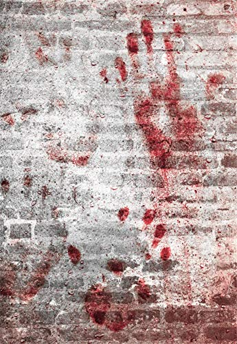 Laeacco Halloween Bloody Wall Background 6.5x10ft Photography Backdrop Abstact Brick Wall Textured Concere Creepy Backdrops Photo Shooting Studio Prop]()
