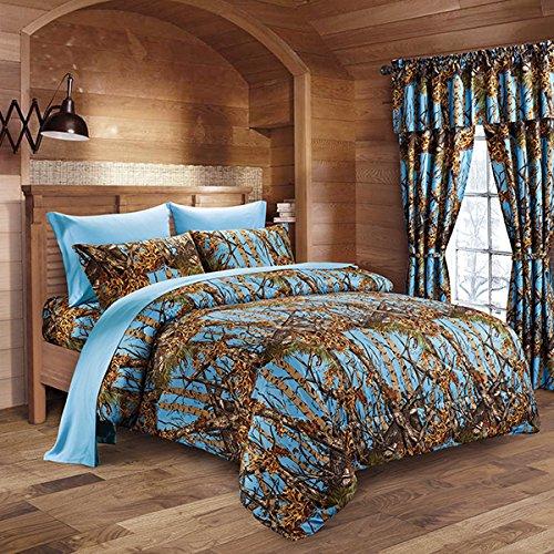 Woodland Hunter Camo Comforter, Sheet & Pillowcase Set (Powder Blue, Queen)