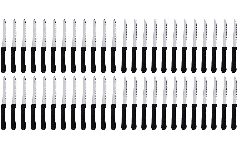 (Satz von 48) 5-Zoll Blade Steak Knives, Stainless Steel Rounded Serrated Blade Steak Knives mit Plastic Handles für Restaurants