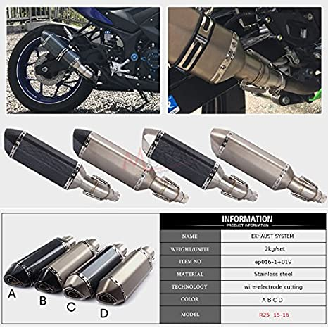 Amazon.com: Fincos Motorcycle Exhaust Muffler Pipe Link Pipe ...