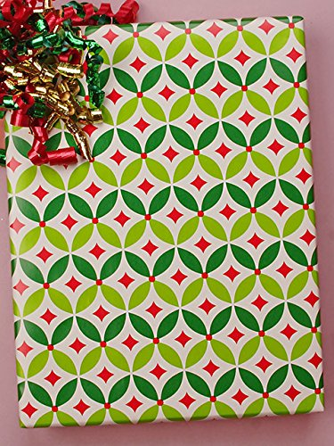 24'' X 100' #x6349 Geo Holly - Gift Wrap Christmas by Paper Mart