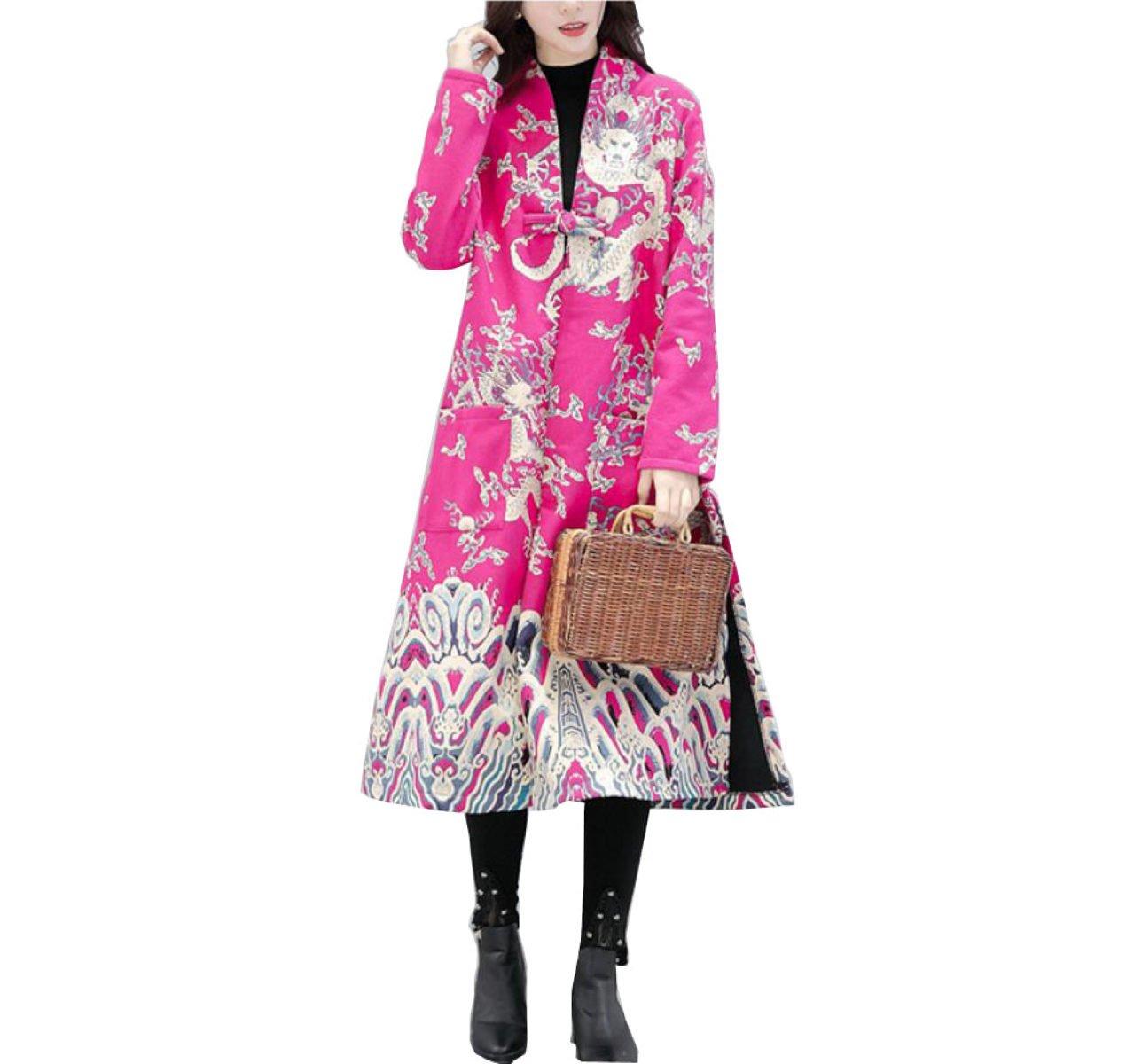 LQABW Chino Lino Del Viento Femenino Abrigo Más Grueso Dragon Pattern Jacket,Pink