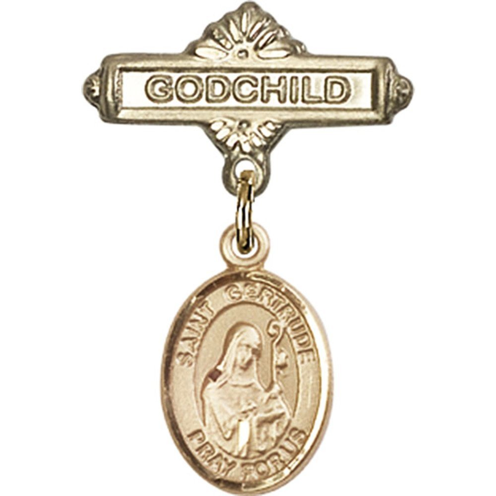 14kt Yellow Gold Baby Badge with St. Gertrude of Nivelles Charm and Godchild Badge Pin 1 X 5/8 inches by Unknown