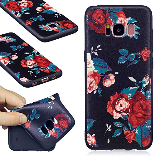 Aa Cell Holster - Galaxy S8 Case, FIREFISH Slim Soft TPU Gel Case Shock-Absorption Scratch-Resistant Embossed Printing Cover Case for Samsung Galaxy S8 -Flower
