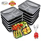 freezer safe containers bpa free - Meal Prep Containers [20 Pack] 3 Compartment with Lids and Forks, BASA BPA Free Portion Control Bento Boxes, Microwave/Dishwasher/Freezer Safe Reusable Food Containers (32oz)