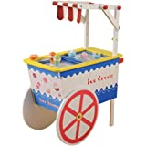 Constructive Playthings Wooden Ice Cream Cart Playset – For Pretend Play