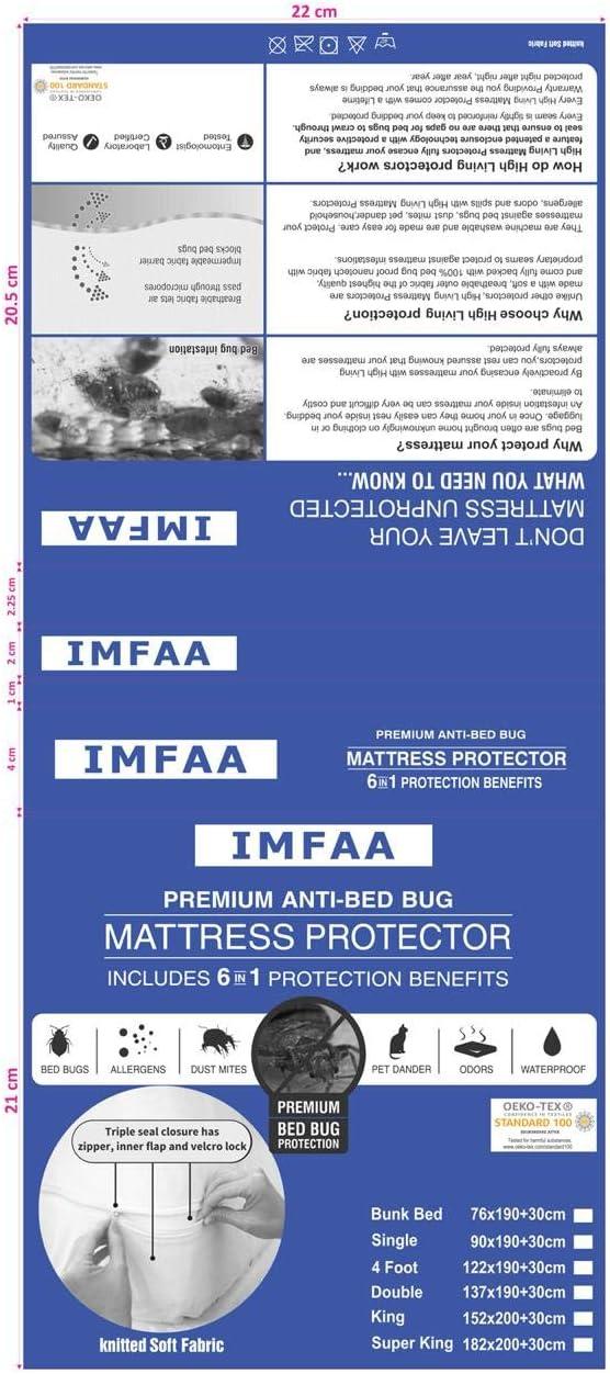 Protector de colch/ón antiinsectos totalmente con cremallera en todos los tama/ños Talla:Double-40Cm Deep antial/érgico e impermeable