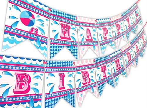 Splish Splash Pink Happy Birthday Banner Pool Party -