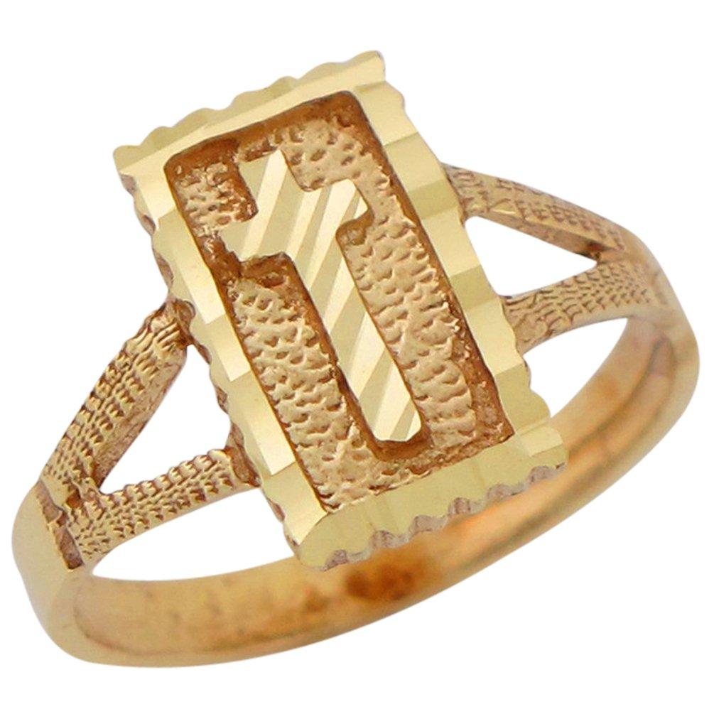 10k Yellow Gold Ladies Diamond Cut Square Top Latin Cross Religious Ring