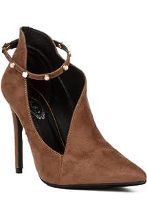 64e699508f1 Hadari Women s Pointed Toe Stiletto Heel Ankle Strap Pump